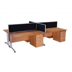 Workstation with mobile pedestal Birch Walnut