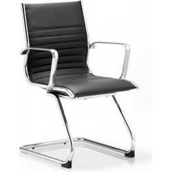 Black leather single visitors chair with metal frame
