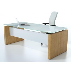 2.0m Executive table with side return and frosted glass top